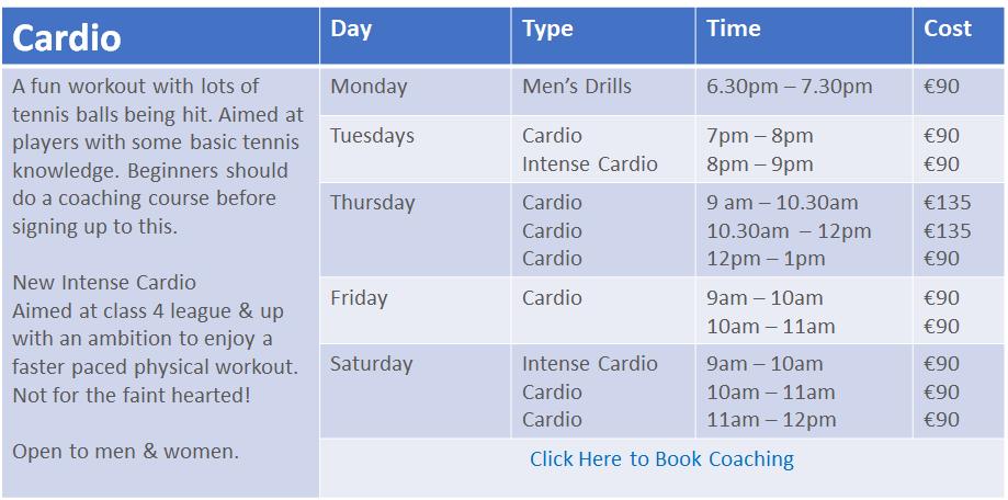 Autumn 2020 Coaching Schedule