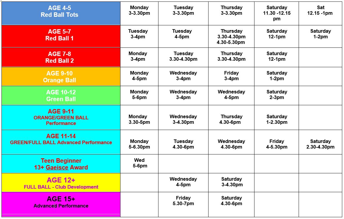 Coaching Schedule