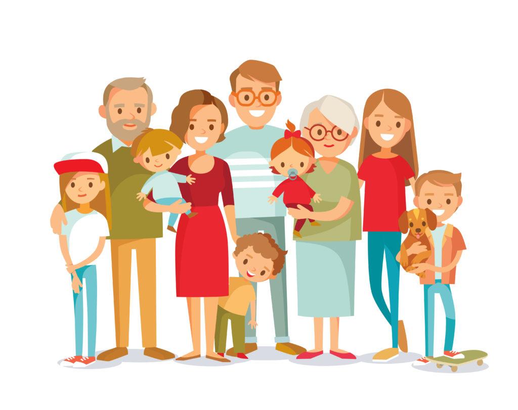 Big,happy,multi Generational,family,siblings,relatives,portrait.,vector,people.,seniors